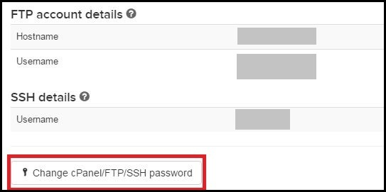 FTP Account Details SSH Details