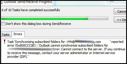Increase Outlook Timeout Settings For Synchronization Errors